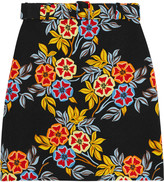 MSGM Floral-print cloqué mini skirt