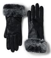Lands' End Women's Leather Faux Fur Gloves-Ivory