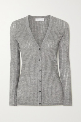 Gabriela Hearst Emma Pointelle-knit Cashmere And Silk-blend Cardigan - Light gray