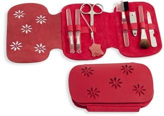 Bey-Berk 8-Piece Leather & Suede Case & Stainless Steel Manicure Set