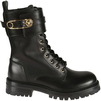 Versace Safety Pin Embellished Lace Boots