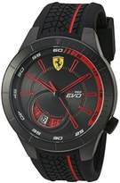Ferrari Men's Quartz Stainless Steel and Silicone Watch, Color:Black (Model: 830339)