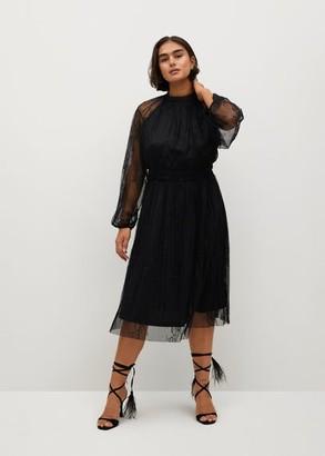 MANGO Embroidered lace dress
