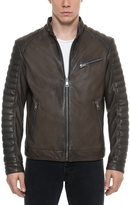 Forzieri Dark Brown Padded Leather Men's Biker Jacket