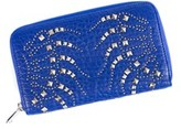 Roberto Cavalli Womens Electric Blue Studded Zip Continental Wallet.