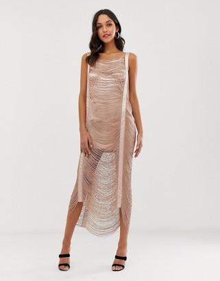 ASOS DESIGN maxi dress in all over fringe