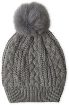 Adrienne Landau Knit Hat with Real Fox Fur Pom-Pom