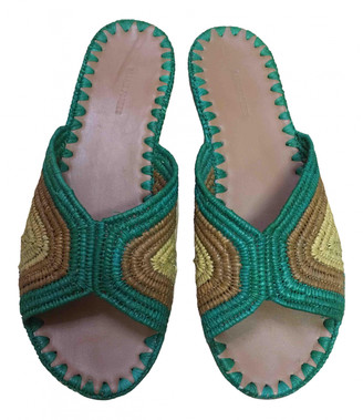 Carrie Forbes Green Leather Mules & Clogs