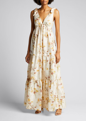Brock Collection Ruffle Floral-Print Tiered Silk Dress