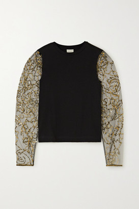 Dries Van Noten Embellished Tulle And Cotton-blend Jersey Top - Black