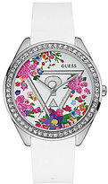 GUESS Iconic Floral Glitzy Silicone-Strap Watch