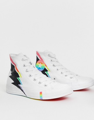 Converse Pride Chuck Taylor Hi All Star White And Rainbow Lightning Bolt Trainers