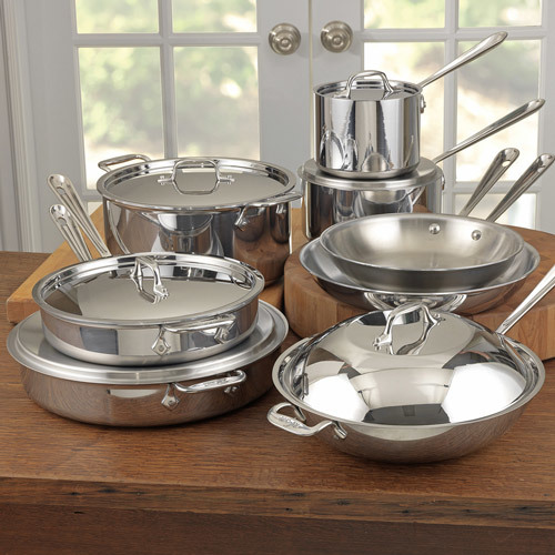 All-Clad Tri-Ply Stainless Steel Cookware Set, 14 piece