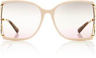 Gucci Gradient Square-Frame Metal Sunglasses