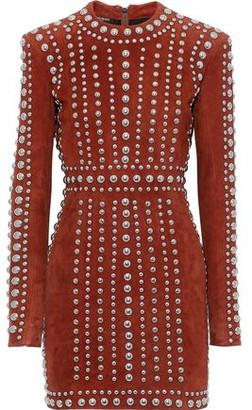 Balmain Studded Suede Mini Dress