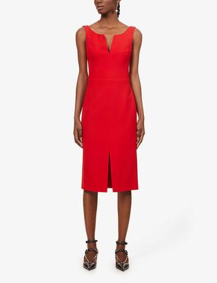 Alexander McQueen Scoop-neck wool and silk-blend midi dress