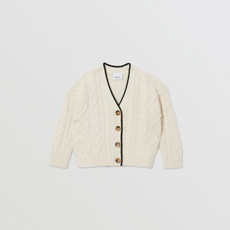 Burberry Childrens Logo Panel Cable Knit Wool Cashmere Cardigan