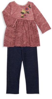 Pippa & Julie Little Girl's 2-Piece Lace Top & Legging Set