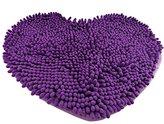 Super Soft Lovely Heart Love Shaped Pad Chenille High Absorption Rug Shaggy Door Mat Doormat Carpet Bathroom Kitchen Home Floor Decoration (4050cm, Purple)