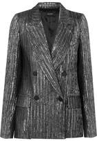 Isabel Marant Denel Double-breasted Textured-lamé Blazer - Silver