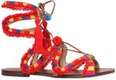 Schutz 10mm Pompom Embroidered Leather Sandals