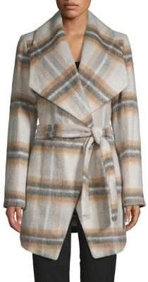 T Tahari Plaid Belted Wool-Blend Coat