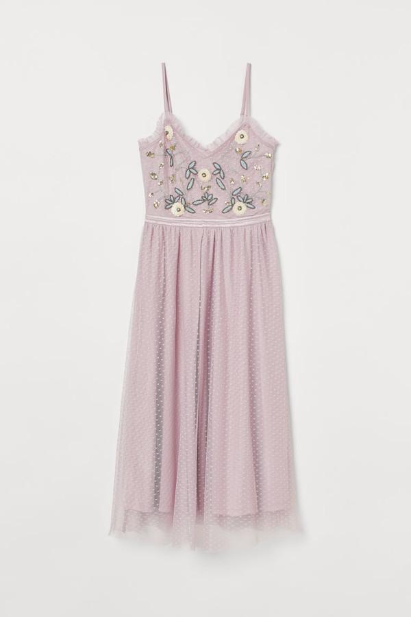 H&M Embroidered Mesh Dress - Purple
