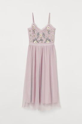 H&M Embroidered Mesh Dress - Purple