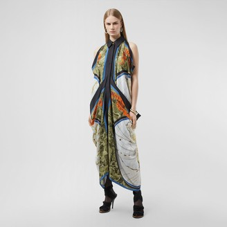 Burberry Map Print Draped Silk Dress