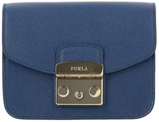 Furla Metropolis Mini Bag In Textured Leather With Shoulder Strap