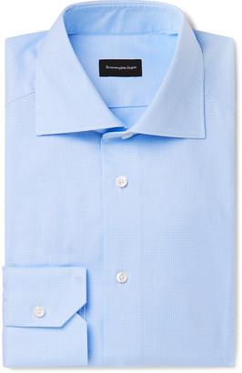Ermenegildo Zegna Light-Blue Cutaway-Collar Puppytooth Cotton Shirt
