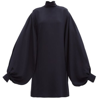 Victoria Beckham Bishop-sleeve Silk-crepe Mini Dress - Navy