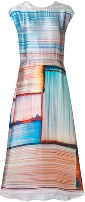 Poiret Abstract Stripe Satin Dress
