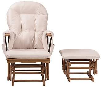 BEIGE Kub Haywood Reclining Glider Nursing Chair and Footstool,