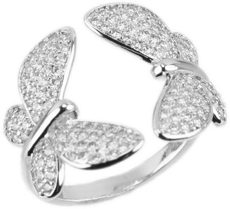 Cz By Kenneth Jay Lane Rhodium Plated Cubic Zirconia Butterfly Ring