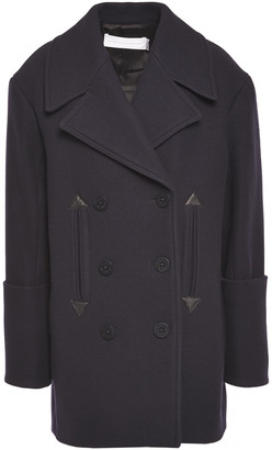 Victoria Victoria Beckham Double-breasted Leather-trimmed Wool-blend Brushed-felt Coat