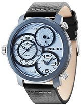 Police Men's Quartz Watch with Silver Dial Chronograph Display and Black Leather Strap 14500XSUY/04