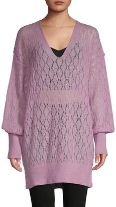 Free People V-Neck Balloon-Sleeve Sweater