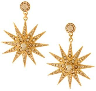 Oscar de la Renta Classic Swarovski Crystal Goldtone Star Drop Earrings