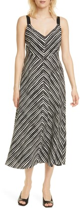 La Ligne Stripe Open Back Silk Midi Dress