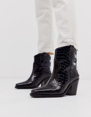 Richmond Asos Design ASOS DESIGN premium leather cowboy boots in multi croc