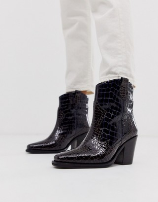 Richmond ASOS DESIGN premium leather cowboy boots in multi croc