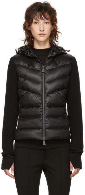 Moncler Black Panelled Down and Fleece Jacket