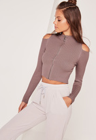 Missguided Zip Through Cold Shoulder Crop Sweater Purple