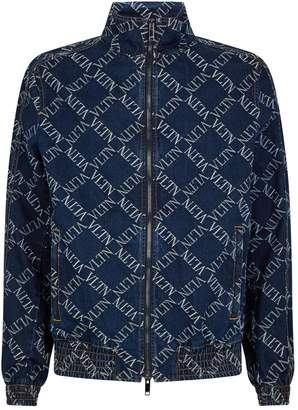 Valentino All-Over Logo Print Denim Jacket