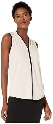Calvin Klein Sleeveless Top with Piping and Hardware (Blush) Women's Clothing