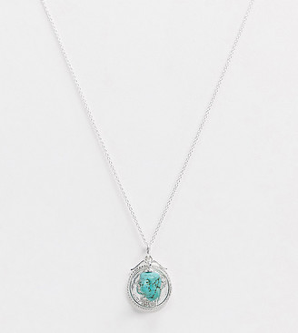 Kingsley Ryan Exclusive sterling silver necklace with coin pendant and turquoise charm