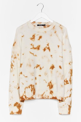 Nasty Gal Womens Tie Dye My Love Relaxed Plus Sweatshirt - Cream