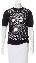 Philipp Plein Wool-Blend Lace Top