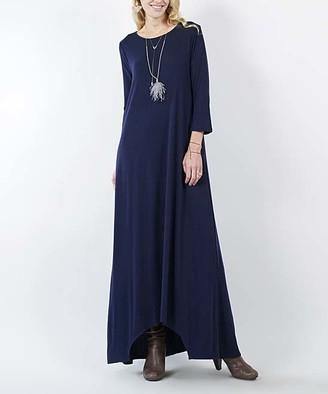 Lydiane Women's Maxi Dresses NAVY - Navy Blue Crewneck Three-Quarter Sleeve Shark-Bite Pocket Maxi Dress - Women